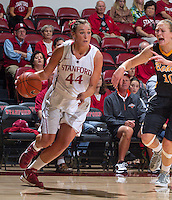 Stanford's Joslyn Tinkle drives the ball down court during Saturday, November 25, 2012 game at Stanford against Long Beach State.. Stanford won 77-41.