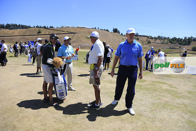 Ernie ELS (RSA) on the range during Wednesday's Practice Day of the 2015 U.S. Open 115th National Championship held at Chambers Bay, Seattle, Washington, USA. 6/17/2015.<br /> Picture &copy; Golffile/Eoin Clarke