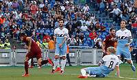 Calcio, Serie A: Lazio vs Roma. Roma, stadio Olimpico, 25 maggio 2015.<br /> Roma's Juan Iturbe, left, celebrates with teammates after scoring during the Italian Serie A football match between Lazio and Roma at Rome's Olympic stadium, 25 May 2015.<br /> UPDATE IMAGES PRESS/Riccardo De Luca