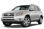 Low aggressive front three quarter view of a 2008 Toyota Rav4 Limited SUV Stock Photo
