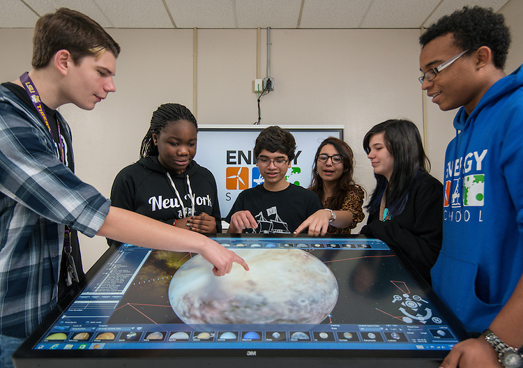 Students collaborate on projects at the Energy Institute High School, February 4, 2015.