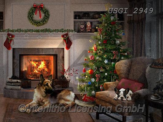 GIORDANO, CHRISTMAS ANIMALS, WEIHNACHTEN TIERE, NAVIDAD ANIMALES, paintings+++++,USGI2949,#xa# ,dog,dogs