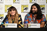 FX FEARLESS FORUM AT SAN DIEGO COMIC-CON© 2019: L-R: Cast Members Natasia Demetriou and Kayvan Novak during the WHAT WE DO IN THE SHADOWS panel on Saturday, July 20 at SAN DIEGO COMIC-CON© 2019. CR: Frank Micelotta/FX/PictureGroup © 2019 FX Networks
