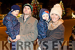 Leon McEvoy, Dylan McEvoy, Jamie McEvoy, and Ann Flavher from Ballyheigue at the fireworks on Denny Street on Saturday night