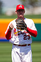Ryan Jackson (23) of the Springfield Cardinals prior to a game against the Frisco RoughRiders on April 16, 2011 at Hammons Field in Springfield, Missouri.  Photo By David Welker/Four Seam Images