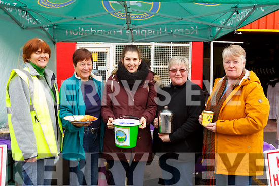 Attending the Kerry Hospice coffee morning fundraiser at Kingdom Fast Fit in Boherbue on Friday morning last.in Moyderwell. L-r, Breda Quirke, Kathleen Simmons, Martina Quirke, Chris O'Connor and Ann Eager