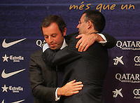 23.01.2014, Barcelona, Spain. Sandro Rosell presents his resignation as chairman of fcb in press conference at Camp Nou