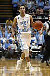 "05 January 2015: North Carolina's Marcus Paige. UNC players and coaches honored late UNC alumnus and ESPN broadcaster Stuart Scott by wearing a patch reading ""STU"" during the game. The University of North Carolina Tar Heels played the University of Notre Dame Fighting Irish in an NCAA Division I Men's basketball game at the Dean E. Smith Center in Chapel Hill, North Carolina."