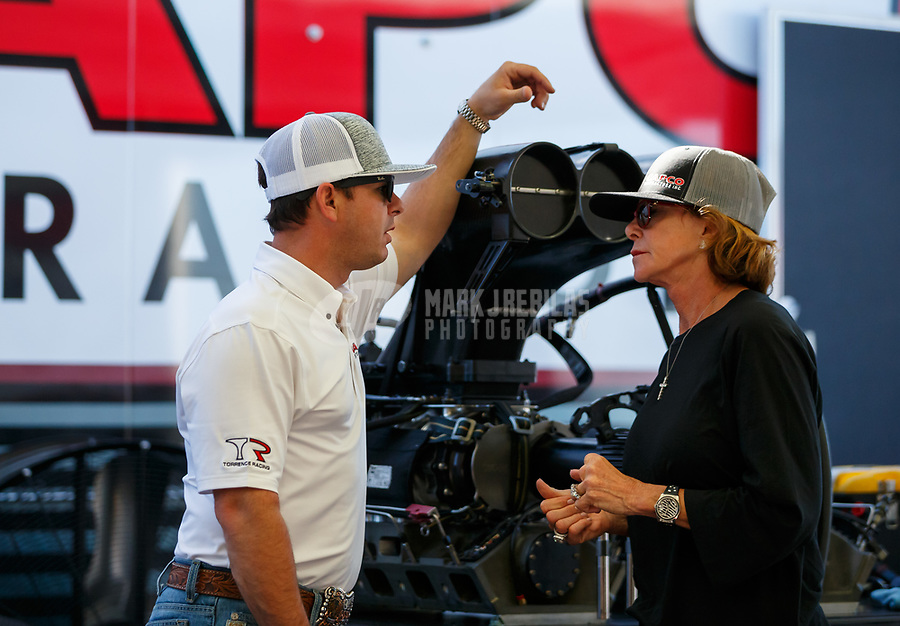 Apr 23, 2017; Baytown, TX, USA; NHRA top fuel driver Steve Torrence (left) with mother Kay Torrence during the Springnationals at Royal Purple Raceway. Mandatory Credit: Mark J. Rebilas-USA TODAY Sports