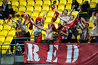 United fans celebrate the 3-1 win during the A-League football match between Wellington Phoenix and Adelaide United at Westpac Stadium in Wellington, New Zealand on Saturday, 24 November 2018. Photo: Dave Lintott / lintottphoto.co.nz