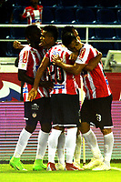 BARRANQUILLA - COLOMBIA, 09-10-2018: Los jugadores de Atlético Junior celebran el gol anotado a Deportes Tolima durante partido de la fecha 13 entre Atlético Junior y Deportes Tolima por la Liga Aguila II 2018, jugado en el estadio Metropolitano Roberto Meléndez de la ciudad de Barranquilla. / The players of Atletico Junior celebrate a scored goal to Deportivo Independiente Medellin during a match of the of the 13th date between Atletico Junior and Deportes Tolima, for the Liga Aguila II 2018 at the Metropolitano Roberto Melendez stadium in Barranquilla city, Photo: VizzorImage  / Alfonso Cervantes / Cont.