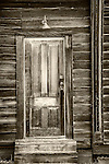 Door and steps, in the ghost town of Bodie, California, State Historic Park.