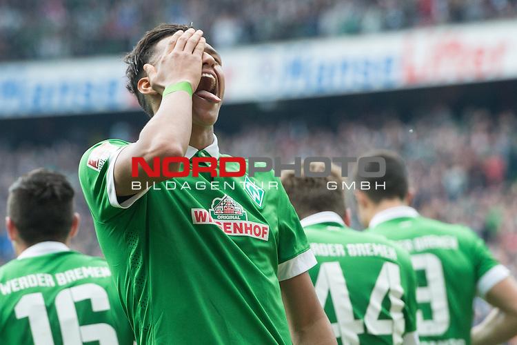 02.05.2015, Weser Stadion, Bremen, GER, 1.FBL. Werder Bremen vs Eintracht Frankfurt, im Bild<br /> <br /> <br /> Jubel  zu 0 zu 1 Davie Selke (Bremen #27)<br /> <br /> <br /> <br /> Foto &copy; nordphoto / Kokenge