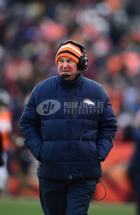 Jan 12, 2013; Denver, CO, USA; Denver Broncos head coach John Fox against the Baltimore Ravens during the AFC divisional round playoff game at Sports Authority Field.  Mandatory Credit: Mark J. Rebilas-
