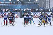17th March 2019, Ostersund, Sweden; IBU World Championships Biathlon, day 9, mass start women; The women push hard away at the race start