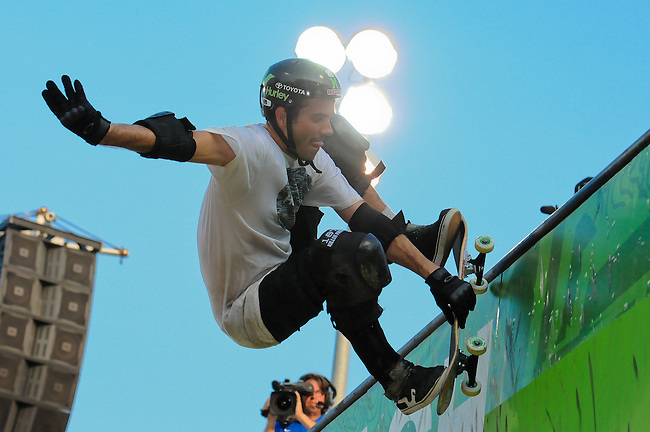 17 August, 2012:  Bob Burnquist  competes in the Skateboard Vert semi-final at the Pantech Beach Championships in Ocean City, MD.
