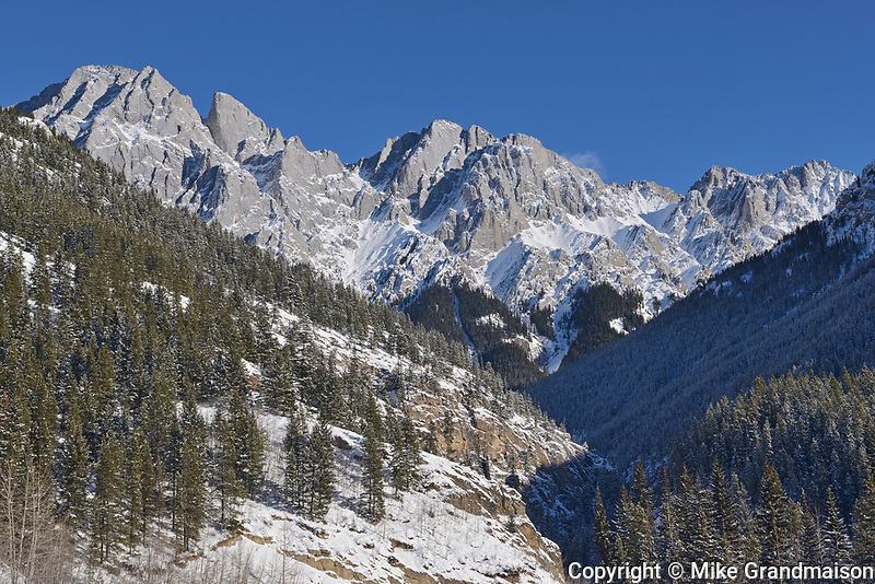 Canadian Rockies in winter. Highwood Pass, Kananaskis Country, Alberta, Canada