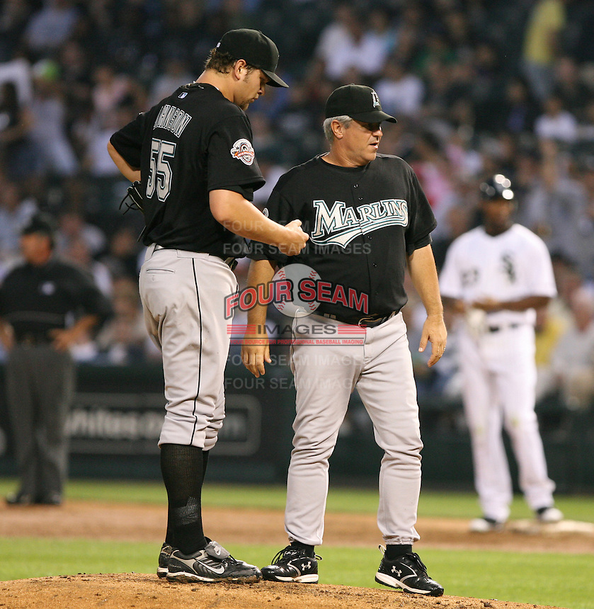Josh Johnson and Rick Kranitz of the Florida Marlins vs. the Chicago White Sox: June 19th, 2007 at U.S. Cellular Field in Chicago, IL.  Photo by Mike Janes/Four Seam Images