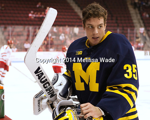 Zach Nagelvoort (Michigan - 35) - The Boston University Terriers defeated the visiting University of Michigan Wolverines 3-2 on Saturday, October 25, 2014, at Agganis Arena in Boston, Massachusetts.