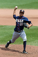 Durham Bulls starting pitcher Chris Archer #15 delivers a pitch during a game against the Empire State Yankees at Frontier Field on May 13, 2012 in Rochester, New York.  Durham defeated Empire State 3-1.  (Mike Janes/Four Seam Images)