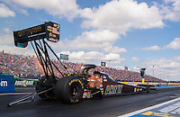 Oct 15, 2016; Ennis, TX, USA; NHRA top fuel driver Tony Schumacher during qualifying for the Fall Nationals at Texas Motorplex. Mandatory Credit: Mark J. Rebilas-USA TODAY Sports