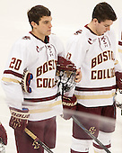 Peter McMullen (BC - 20), Ryan Fitzgerald (BC - 19) - The Boston College Eagles defeated the visiting University of New Brunswick Varsity Reds 6-4 in an exhibition game on Saturday, October 4, 2014, at Kelley Rink in Conte Forum in Chestnut Hill, Massachusetts.