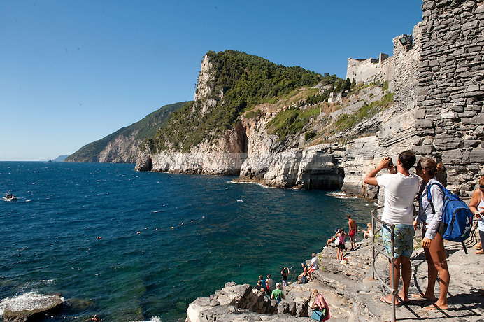View along the coast from the church of San Pietro, Portovenere, Liguria, Italy