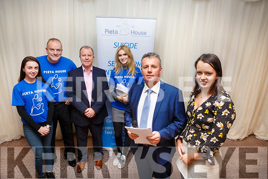 The organising committee of the Pieta House Quiz night in the Rose Hotel on Thursday night last. Tim Moynihan and Louise Ryan front right with Ciara Moynihan, Ted Cronin, Con O'Connor (Pieta House), Fiona Griffin.