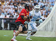 Baltimore, MD - April 28, 2018: Maryland Terrapins Tim Rotanz (7) in action during game between John Hopkins and Maryland at  Homewood Field in Baltimore, MD.  (Photo by Elliott Brown/Media Images International)