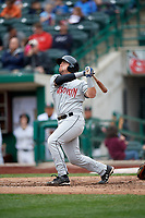 Wisconsin Timber Rattlers catcher Nathan Rodriguez (9) follows through on a swing during a game against the Fort Wayne TinCaps on May 10, 2017 at Parkview Field in Fort Wayne, Indiana.  Fort Wayne defeated Wisconsin 3-2.  (Mike Janes/Four Seam Images)