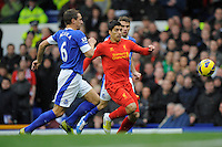 28.10.2012 Liverpool, England. Luis Suarez  of Liverpool   in action during the Premier League game between Everton and Liverpool  from Goodison Park ,Liverpool