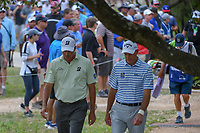 Matt Kuchar (USA) and Jim Furyk (USA) make their way to the tee on 2 during day 2 of the Valero Texas Open, at the TPC San Antonio Oaks Course, San Antonio, Texas, USA. 4/5/2019.<br /> Picture: Golffile | Ken Murray<br /> <br /> <br /> All photo usage must carry mandatory copyright credit (&copy; Golffile | Ken Murray)