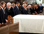Boston, MA - August 29, 2009 -- The white draped casket of Senator Edward Kennedy sits before (from left) the Senator's son Edward Kennedy Jr., his widow Vicki Kennedy, former President Bill Clinton, Secretary of State Hillary Clinton, former president George W. Bush, President Barack Obama and First Lady Michelle Obama, Vice President Joseph Biden and his wife Jill Biden, and former First Lady Rosalynn Carter and former President Jimmy Carter during funeral services at the Basilica of Our Lady of Perpetual Help in Boston, August 29, 2009. .Mandatory Credit: Pete Souza - White House via CNP