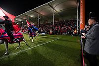 The Crusaders horsemen ride around the ground before the 2019 Super Rugby final between the Crusaders and Jaguares at Orangetheory Stadium in Christchurch, New Zealand on Saturday, 6 July 2019. Photo: Joe Johnson / lintottphoto.co.nz