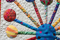 "NWA Democrat-Gazette/ANTHONY REYES @NWATONYR<br /> Details on Carla Gray's ""Atomic Bloom"" quilt Monday, April 3, 2017 at the Shiloh Museum in Springdale."