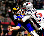 ATLANTA, GA - FEBRUARY 3: Dont'a Hightower #54 of the New England Patriots hits Jared Goff #16 of the Los Angeles Rams during the third quarter of Super Bowl LIII at Mercedes-Benz Stadium in Atlanta, Georgia on February 3, 2019. (Staff Photo By Christopher Evans/MediaNews Group/Boston Herald)