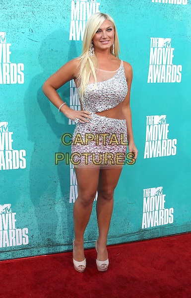 Brooke Hogan.2012 MTV Movie Awards held at the Gibson Amphitheatre, Universal City, California, USA..3rd June 2012.full length silver cut out away sequins sequined dress hand on hip.CAP/ADM/SLP/LS.©Lee Sherman/Starlitepics/AdMedia/CapitalPictures.