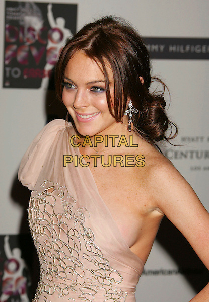 LINDSAY LOHAN.Arrivals - 13th Annual Race to Erase MS held at the Hyatt Regency Century Plaza Hotel, Century City, California, USA, 12 May 2006..half length one shoulder chiffon silk pale pink peach nude dress silver pattern.Ref: ADM/RE.www.capitalpictures.com.sales@capitalpictures.com.©Russ Elliot/AdMedia/Capital Pictures.