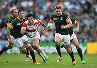 Jean De Villiers of South Africa in possession. Rugby World Cup Pool B match between South Africa and Japan on September 19, 2015 at the Brighton Community Stadium in Brighton, England. Photo by: Patrick Khachfe / Onside Images