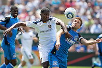 Edson Buddle (left) battles for the ball against Bobby Convey (right). The San Jose Earthquakes defeated the LA Galaxy 1-0 at Buck Shaw Stadium in Santa Clara, California on August 21st, 2010.