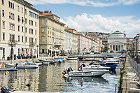 Canale Grande with view towards the church of Sant'Antonio, in the Borgo Teresiano area of Trieste, Italy