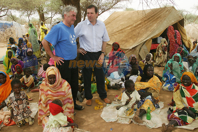 Minister for Overseas development Tom Kitt TD pictured with GOAL CEO John O'Shea during a visit to A GOAL feeding centre in Kutum in Darfur, Western Sudan on Saturday. GOAL is giving assistance to over 150,000 people who are among the 2 million or so who have been displaced by ethnic violence in the region. .Picture supplied by GOAL