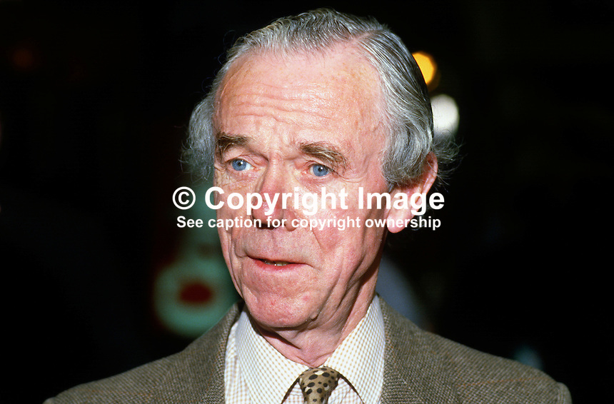 Sir William Clark, MP, Conservative Party, UK, 19871008WC1.<br /> <br /> Copyright Image from Victor Patterson, 54 Dorchester Park, <br /> Belfast, UK, BT9 6RJ<br /> <br /> t1: +44 28 9066 1296 (from Rep of Ireland 048 9066 1296)<br /> t2: +44 28 9002 2446 (from Rep of Ireland 048 9002 2446)<br /> m: +44 7802 353836<br /> <br /> e1: victorpatterson@me.com<br /> e2: victorpatterson@gmail.com<br /> <br /> www.victorpatterson.com<br /> <br /> Please see my Terms and Conditions of Use at www.victorpatterson.com. It is IMPORTANT that you familiarise yourself with them.<br /> <br /> Images used on the Internet must be visibly watermarked i.e. &copy; Victor Patterson within the body of the image and copyright metadata must not be deleted. Images used on the Internet have a size restriction of 4kbs and will be chargeable at current NUJ rates unless agreed otherwise.<br /> <br /> This image is only available for the use of the download recipient i.e. television station, newspaper, magazine, book publisher, etc, and must not be passed on to any third party. It is also downloaded on condition that each and every usage is notified within 7 days to victorpatterson@me.com<br /> <br /> The right of Victor Patterson to be identified as the author is asserted in accordance with The Copyright Designs And Patents Act (1988).