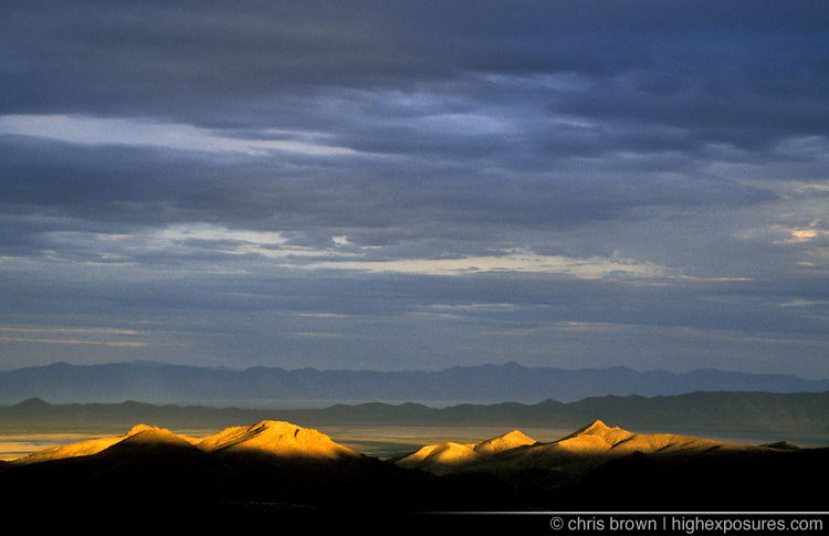 Last light on a mountain range in Nevada.