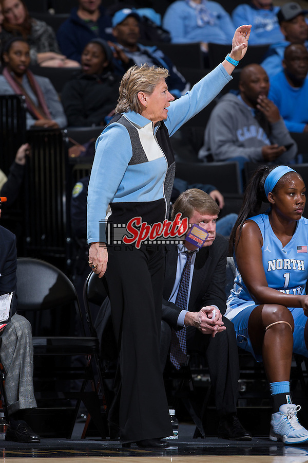 North Carolina Tar Heels head coach Sylvia Hatchell calls out a play during first half action against the Wake Forest Demon Deacons at the LJVM Coliseum on January 21, 2016 in Winston-Salem, North Carolina.  The Demon Deacons defeated the Tar Heels 75-63.  (Brian Westerholt/Sports On Film)