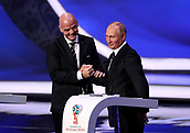 1st December 2017, State Kremlin Palace, Moscow, Russia;  FIFA President Gianni Infantino (L) shakes hands with Russian President Vladimir Putin after delivering a speech at the start of the FIFA 2018 World Cup draw, at the State Kremlin Palace in Moscow, Russia