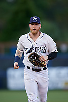 Charlotte Stone Crabs left fielder Jake Fraley (17) jogs back to the dugout during a game against the Bradenton Marauders on August 6, 2018 at Charlotte Sports Park in Port Charlotte, Florida.  Charlotte defeated Bradenton 2-1.  (Mike Janes/Four Seam Images)
