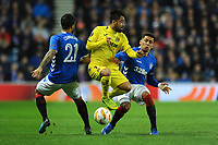 Candeias and James Tavernier of Rangers battles for the ball with Jaume of Villarreal CF during Rangers vs Villarreal CF, UEFA Europa League Football at Ibrox Stadium on 29th November 2018
