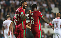 Leroy Fer of Swansea City celebrates scoring his sides second goal of the match during the Carabao Cup Second Round match between MK Dons and Swansea City at StadiumMK, Milton Keynes, England, UK. 22 August 2017