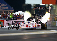 Jun 19, 2015; Bristol, TN, USA; NHRA top fuel driver Richie Crampton during qualifying for the Thunder Valley Nationals at Bristol Dragway. Mandatory Credit: Mark J. Rebilas-
